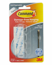 3M COMMAND Damage-Free Hanging Clear Round Cord Clips 4 Clips 5 Strips 17017CLR