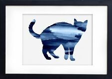 Watercolour Print of Original Painting - Blue Cat - Wall Hanging 1Wb