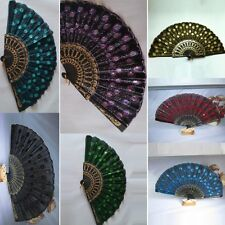 Porket Folding Embroidered Peacock Tail Fabric Fans Sequins Hand Held Fan Favors