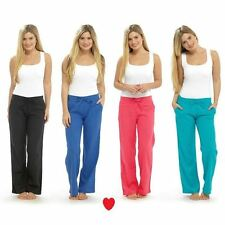 womens linen trousers pants casual relaxed fit bright size 10 12 14 16 18