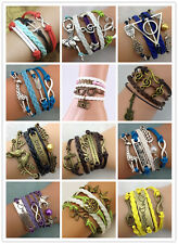 NEW Jewelry fashion Leather Cute Infinity Charm Bracelet Silver lots Style PickH