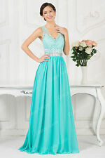Turquoise Formal Long Dress Wedding Ball Gown Party Bridesmaid Graduation Dress