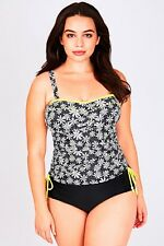 Plus Black & Yellow Daisy Ruched Tankini Top With Detachable Straps 16-26