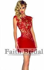 Red Mini lace Bridesmaid Prom Ball Cocktail Party Wedding Bridal Formal Dress!!