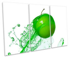 Kitchen Apple Splash Food Drink TREBLE CANVAS WALL ART Box Framed Print