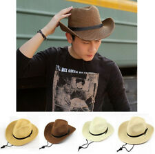 Trendy Straw Cowboy Hat Wide Brim Summer Beach Panama Cap Fedora Men's Sun Hat