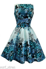 Lady V London 50's Retro Vintage Teal Rose Floral Collage Cream Tea Dress