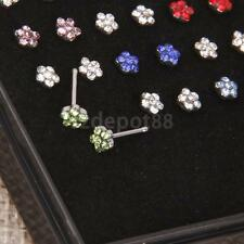 24 Surgical Steel Muticolor/Clear Crystal Flower Nose Stud Body Piercing Jewelry