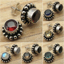 925 Silver Plated FASHION STUD Earrings, RED GARNET & Other Gem Choices Jewelry