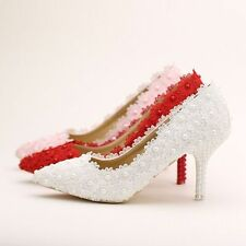 ELEGANT PEARL LACE WEDDING BRIDAL PARTY EVENING PROM LADIES SHOES
