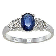 10k White Gold Genuine Blue Sapphire and Diamond Ring (1/10 TDW)