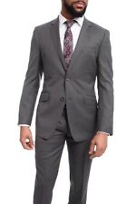 Mens Extra Slim Fit Heather Medium Gray Two Button Super 140's Wool Suit