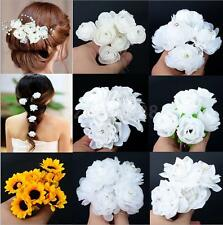 6pcs Artificial Flower Crystal Hair Pins Wedding Bridal Hairpins Bobby Clips New