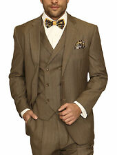 Mens Tan Brown Textured Striped Three Piece Wool Suit