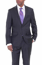 Mens Modern Fit Charcoal Gray Plaid Two Button Wool Suit