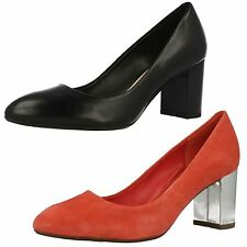 Ladies Clarks Slip On Leather Heeled Court Shoes The Style - Blissful Cloud