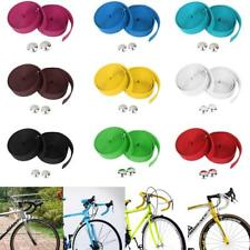 Pair MTB BMX Road Bike Cork Handlebar Handle bar Grip Tape Wrap with 2 Bar Plugs