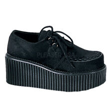 Demonia CREEPER-202 Platform Black Fur D-Ring Lace Up Casual Shoes Goth Punk