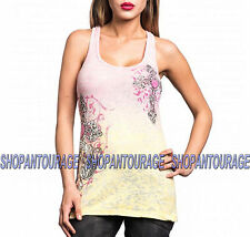 SINFUL Fiona S3764 Women`s Pink/Yellow Burnout Tank Top By AFFLICTION