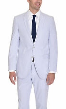 Kenneth Cole NY Slim Fit Blue White Striped Seersucker Cotton Summer Suit
