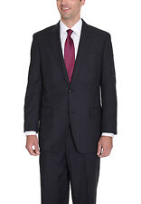 Sean John Regular Fit Black Striped Two Button Suit With Peak Lapels
