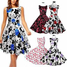 Women Summer Rockabilly Floral Swing 60s 50s Evening Party Pinup Housewife Dress