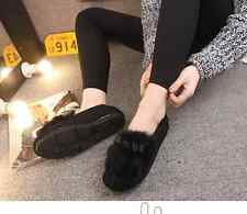 Womens Fur Decor Bowknot Flats Casual Shoes Moccasins Gommino Casual Suede Shoes