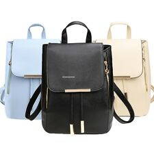 Fashion Student Synthetic Leather Solid Schoolbag Backpack Travel Bag