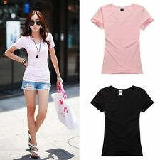 Women Sexy Slimming Blouse Casual Cotton Short Sleeve T-Shirt Tops V-Neck Shirt