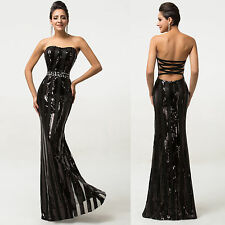 Women Sexy Sequins Prom Party Bridesmaid Dress Formal Evening Long Mermaid Gown