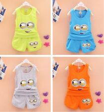 2Pcs Baby Toddler Kids Boys&Girls Minion Clothes T-Shirt+Shorts Summer Set New