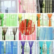 2 X Valances Tulle Voile Door Window Curtain Drape Panel Sheer Scarf Divider AIG