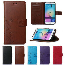 Luxury Patterned Leather Flip Card Wallet Case Cover For iPhone/Samsung Galaxy