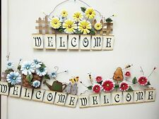 Metal Spring Flowers Welcome Sign Garden Wall Decor