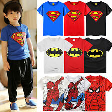 Kids Boys Cartoon Batman Spider-Man Superman Print Tee Top T-Shirt Age 1-6 Years