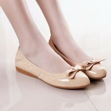 Womens Casual Patent leather Flats Ballet Oxfords Bowknot Lady Loafers Shoes