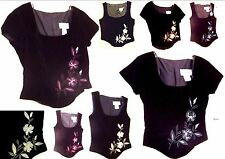 Sz 3/4-17/18  NWT$49 1001 Nights Vest Tops & Cap Sleeve Tops w/Floral Embroidery