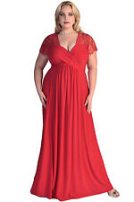 Red Lace Yoke Ruched Twist High Waist Plus Size Gown ladies long evening dresses