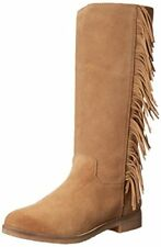 LUCKY BRAND GRAYER BLACK SUEDE MID CALF RUBBER SOLE PULL ON FRINGE WESTERN BOOTS