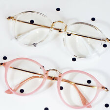 HOT!Geek Nerd Retro Costume Retro Round Large Metal Frame Clear Lens Eye Glasses