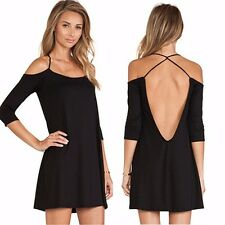Lady Sexy Black Cotton Women Off-shoulder Backless Cocktail Club Mini Dress