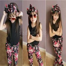 Toddler Baby Girl Outfit Headband+T-shirt+Floral Pants Kid Clothes 3pcs Set 1-6Y