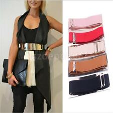 Women Fashion Gold Metal Mirror Waist Wide Plate Elastic Buckle Waistband Belt