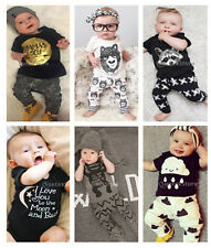 Newborn Infant Baby Boy Girls T-Shirt Tops + Pants Kids Clothes Outfit Tracksuit