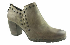 LADIES FAUX LEATHER ZIP UP ANKLE BOOTS STUD DETAIL  METALLIC SIZE 3-8
