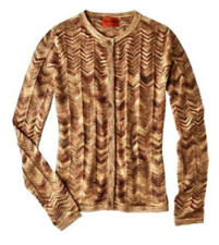 NEW! Authentic Missoni Knit Sweater Cardigan - Gold Chevron Space-dye Light