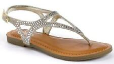 NEW Girl's Youth CANDIES ELLSA Silver Flats Fashion Dress Sandals Thong Shoe