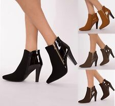 LADIES WOMENS HIGH HEELS STILETTOS ANKLE POINTED BOOTS SIZE 3-8