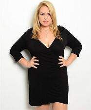 Black Crossfront Plunging Neckline Ruched Dress 1X 2X 3X LBD Knit Sexy Plus Size