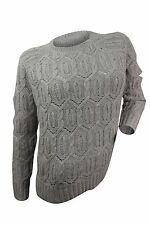 Zen $253 NWT Grey Diamond Cable Knit Sweater Cashmere Blend